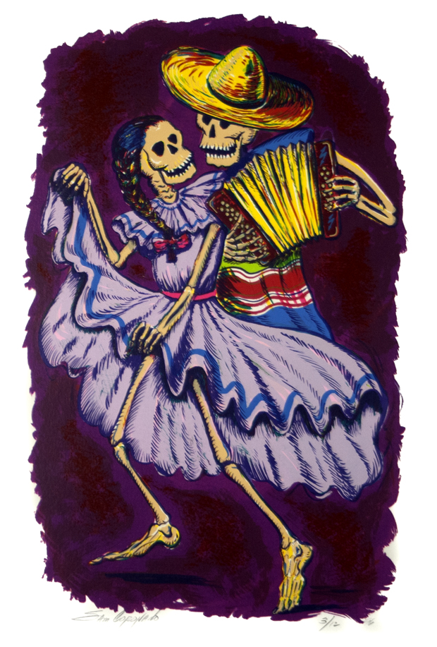 Dancing Calacas 'Purple' Sam Coronado